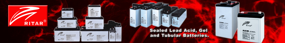 Ritar Sealed Lead Acid Gel and Tubular Batteries for Solar and Backup.
