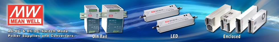 Meanwell Switch Mode Din Rail, LED and Enclosed Power Supplies.